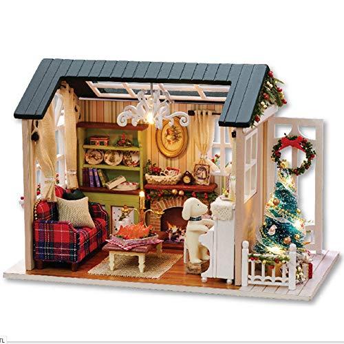 Fai da te kit casa delle bambole in miniatura di natale, cabina realistica mini casa in legno 3d artigianato con mobili luci a led giorno dei bambini regalo di compleanno decorazione della casa