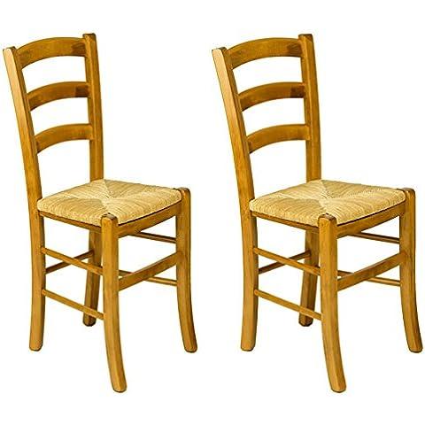 Meublepro Venezia Lote de 2 sillas de madera de haya con asiento de centeno