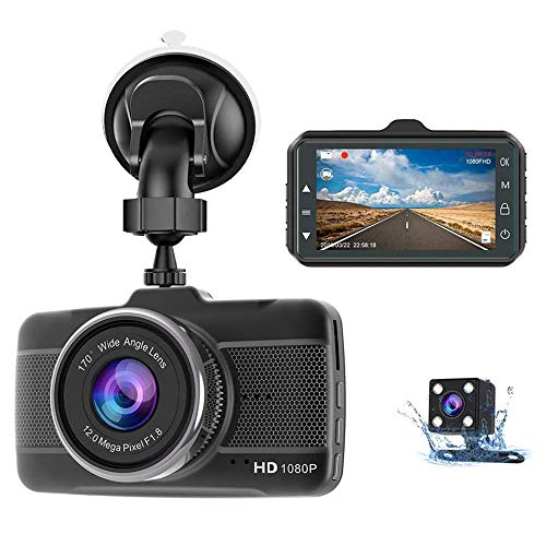 Claoner Dash Cams for Cars Front and Rear 1080P Full HD Dashcam, Dual Dash Cam with F1.8 Night Vision 170°Wide Angle 3 Inch IPS Screen Dashcams for Cars, Loop Recording, G-sensor, Parking Monitor