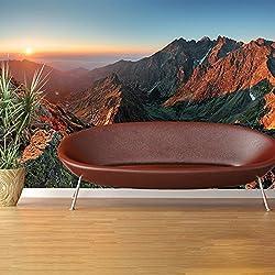 azutura Red Rocky Mountains Wandbild Sonnenuntergang Landschaft Foto-Tapete Schlafzimmer Dekor Erhältlich in 8 Größen Extraklein Digital