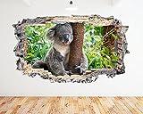 N802 Koala Bear Sleep Cute Animals Smashed Wall Decal 3D Art Stickers Vinyl RoomKids Bedroom Baby Nursery Cool Livingroom Hall Boys Girls (Large (90x52cm))
