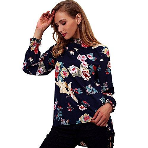 Oliviavan,Mode Frauen Casual Langarm Chiffon Rüschenbluse Blumendruck Shirt Tops Elegante Kleider Longshirt Tunika Tanktop Oberteil Gestreift Crop Top Kurzarm Streifen Shirt