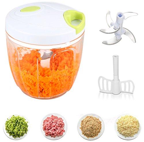 Zerkleinerer Küchenmaschine ,Tatuer Manuell Gemüsehobel Zwiebelschneider Multi Zerkleinerer mit 5 Klingen Küchenhelfer für Babynahrung, Gemüse,Früchte,Fleisch -900 ml(14*12.5 cm) (Fleisch-mixer-maschine)