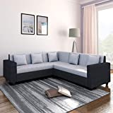 Bharat Lifestyle Cosmo Plus Fabric L Shape Acacia Wood Sofa - 3 Seater