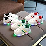 QinMM Bébé Rayé Chaussures LED Baskets Sport, Brillant Veilleuse Barre Transversale Bambin Gamins Enfants Lumière Up Lumineux Chaussures de Sport ((CN): 22/EU: 21, Rouge)