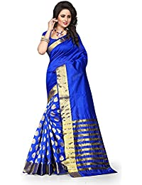 Deepjyoti Creation Women's Cotton Silk Saree With Blouse Piece (Dps-1156R11_Blue)