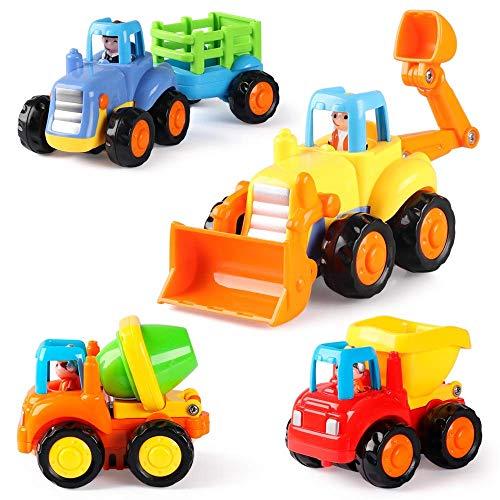 Coogam Coches con Motor de fricción, Empuje y Vaya vehículos de construcción Juguetes - Tractor, Bulldozer, camión hormigonera y volquete - Set de 4 para bebés niños pequeños