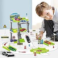 Yavso 3 Levels Toy Car Garage Playset, Large Parking Storage Garage Track Set with 8 Alloy Cars Gift for Kids