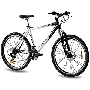 """26"""" KCP MOUNTAIN BIKE EVOLUTION ALLOY MEN with 18 speed SHIMANO white black - (26 inch)"""