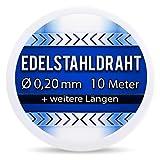 Edelstahldraht V2A - Ø 0,20 mm 10 Meter (0,40 EUR/m) Edelstahl Draht Heizdraht Schneidedraht Wickeldraht S304 AWG32 0,2