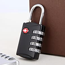 DOCOSS 309 Lock Tsa Approved 4 Digit for USA Number Padlock for Luggage Bag Password, (Black) - 1 Pieces