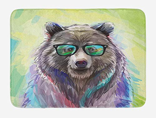 RAINNY Animal Bath Mat, Funny Cool Low Wild Hipster Bear with Spectacles Colorful Portrait, Plush Bathroom Decor Mat with Non Slip Backing, 15.7X23.6 inch, Lime Green Blue Gray Purple