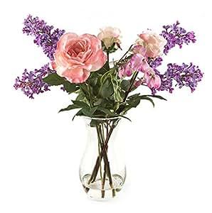 Con Lila Rose Peony 6727 e pisello dolce, composizioni di fiori artificiali in un vaso curvo,