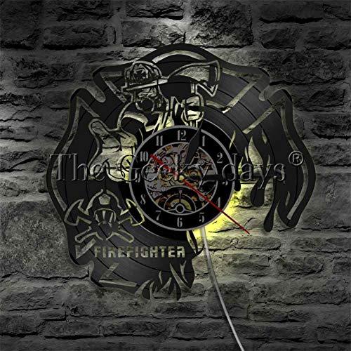 Schallplatte Uhr Feuerwehrmann Thema Kunst CD Uhr Uhr kreative Uhr Home Decor handgemachtes Geschenk für Feuerwehrleute 12 Zoll ()