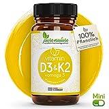 100% PFLANZLICH: Vitamin D3 + K2 + Omega 3 | 80 MINI Depot Kapsel | D3 aus Flechten | Deutsche PREMIUM Qualität | Hochdosiert 3000 i.e. | Vegan | Sonnenvitamin - K2 MK7 aus Natto - Omega 3 aus Leinsamen natürlich | Made in Germany