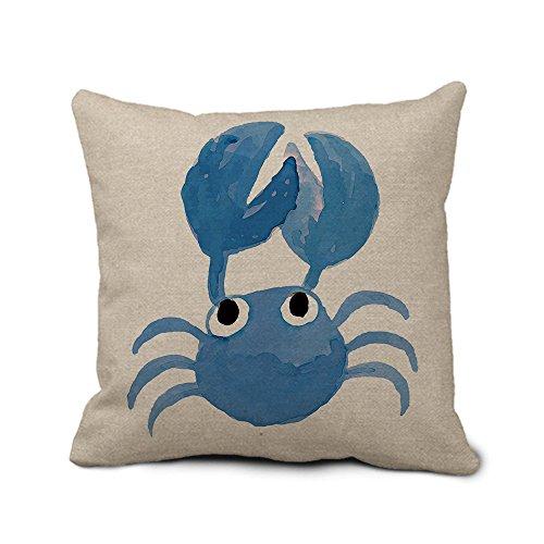 Überwurf Kissenbezug, quadratisch blau Kissen Fall mit Krabbe 45x 45cm Decoraitve Kissen für Couch Weich Jute Leinen Kissenbezüge Design mit Reißverschluss