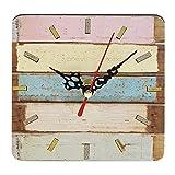 RoadRomao Práctico Artístico Estilo Europeo Creativo Redondo Colorido Rústico Decorativo Antiguo Reloj de Pared de Casa de Madera