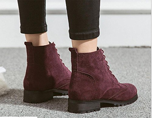 KUKI Stivali da donna, scarpe, stile europeo e americano, pizzo, pelle scamosciata, moda, colore degli incantesimi, scarpe basse, casual, Martin, wine red