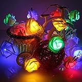 Bestland 2m 20er LED Rosen Lichterkette Batteriebetrieben Innen Im Freien Farbenfreudig Beleuchtung für Garten Rasen Bar Verein Hochzeit Valentinstag Weihnachten