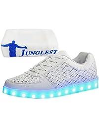 (Presente:Peque?a Toalla) Blanco - Blanco EU 37, Zapatos Corta de Carga Pantalones de Zapatillas Luminosa cogida Moda la de Colores LED de de Mano para Manga Mujer de Hombre para Fashi