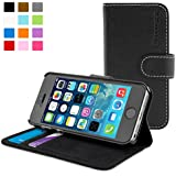 Snugg® iPhone 5 / 5s Case - Leather Flip Case with Lifetime Guarantee (Black) for Apple iPhone 5 / 5s