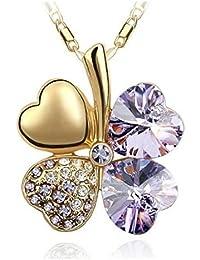 Exquisite Kristall Four Leaf Clover Flower Herz-Anhänger Gold Halskette Kette mit österreichischen Kristallen Tanzanite Lila