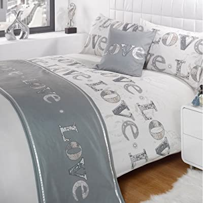 Dreamscene Luxurious Love Bed in A Bag, Polyester, Double, White and Grey - cheap UK light store.