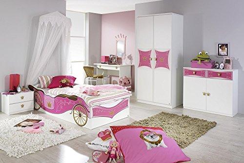 Rauch Kinderzimmer Mädchenzimmer Kate 5-TLG. Komplett Set in Weiss, Absetzungsfarbe Rosa