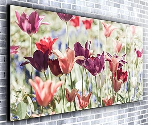 vibrantes Fleurs Coucher de soleil Décor mural panoramique encadrée Impression sur toile Art mural XXL 139,7x 61cm de plus de 1,4m de large x 0,6m haute prête à suspendre Impression sur toile?Paysage Photographie?Art moderne