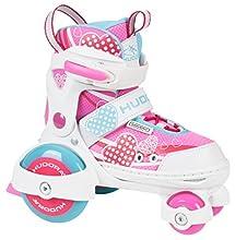 Hudora-My First Quad-Pattini a rotelle, Colore Bianco - Rosa, Taglia 26-29