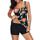 iBaste Tankini Damen mit Shorts Bikini Neckholder Bademode Bikini Set Badeanzug Damen Bauchweg Große Größe-BK-XL