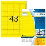 Herma 4366 Etiketten farbig, ablösbar (45,7 x 21,2 mm auf DIN A4 Papier matt) 960 Stück auf 20 Blatt, gelb, bedruckbar, selbstklebend