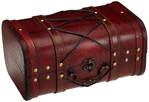 Brynnberg Scrigno del tesoro con lucchetto vintage Bauletto stile antico per accessori gioielli oggetti di valore, Cassaforte in legno, Idea regalo decorativa 28x18x14cm