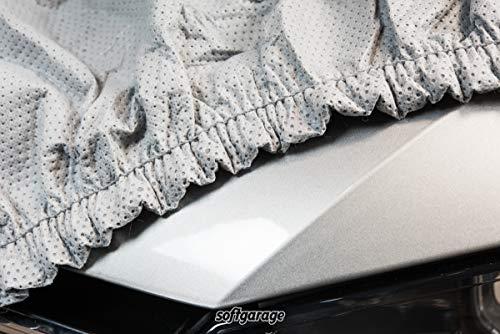 SOFTGARAGE 3-lagig Regen Schnee und frostsicher lichtgrau Indoor Outdoor atmungsaktiv wasserabweisend Car Cover Vollgarage Ganzgarage Autoplane Autoabdeckung
