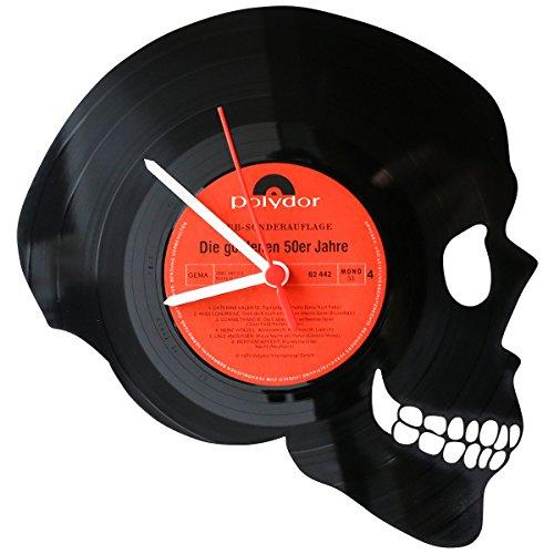 GRAVURZEILE Wanduhr aus Vinyl Schallplattenuhr Totenkopf Upcycling Design Uhr Wand-Deko Vintage-Uhr Wand-Dekoration Retro-Uhr Made in Germany