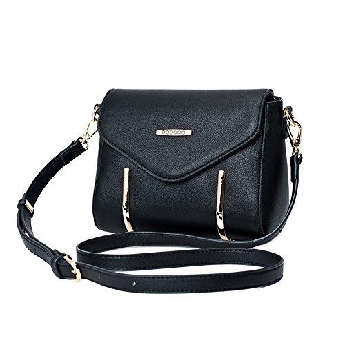 Frauen Schultertasche - PU Leder Frauen Handtasche Crossbody Taschen Damen Rucksack Mädchen Reisetasche Schwarz