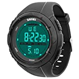 Herren Sport Digital Uhren – Outdoor Wasserdicht Sport Armbanduhr mit Timer/Alarm, Big Face Military Handgelenk Uhren mit LED-Bildschirm große Ziffern Mikrofaser Bonus für Running Herren (schwarz)