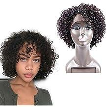 Golden Rule Rizado Pelucas Para Mujeres Negro Color Natural Rizado Cabeza explosión peluca pelo humano Virgen