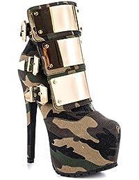 SONGYUNYANEuropa y el ultra metal brillante impermeable alta hebilla botas de Camo discoteca moda mujer , camouflage , 44