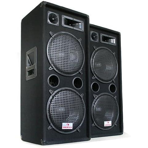 Auna PW-2222 Sonido Profesional DJ Pareja de Altavoces3 vias 2x 30,5cm (12