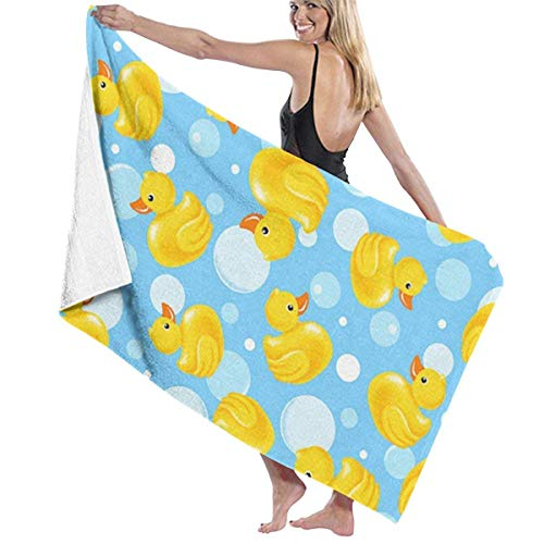 fgregtrg Beach Towels Decor Polyester Fiber Yellow Duck Bath Towels Oversized Soft, High Absorbent, Eco-Friendly Printed Bath Towel,Quick Dry 31.5\