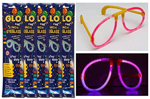 5 x Knicklichtbrille Leuchtbrille Brille Schwarzlicht Knicklicht Party Karneval 5 Farben