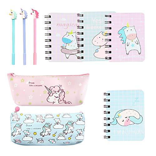 STOBOK Juego de papelería Unicornio-Unicorn Cuadernos Bolígrafos Unicornio Bolsas de lápiz Los mejores regalos de Unicorn para niños