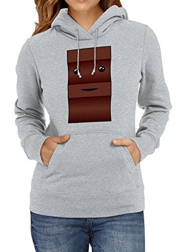 Shirt Happenz Kostüm Schoko Premium Hoody | Verkleidung | Karneval Hoodies | Fasching | Frauen | Kapuzenpullover, Farbe:Graumeliert;Größe:L
