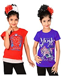 Sweet Angel Red & Begie color round neck combo tops for girls