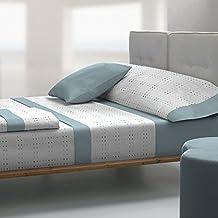 Tolrà T0941 - Juego de sabanas 3 piezas de franela 100% algodón para cama de 150, color aguamarina