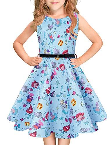 Idgreatim Mädchen Sommerkleid Floral Aermellos Rundhalsausschnitt Vintage Retro 1950 Kleider Party Holiday Swing Sommerkleid mit Gürtel