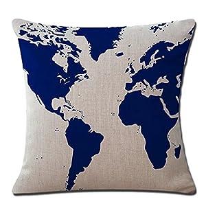 Lino y algodón mapa del mundo cuadrado manta funda de almohada Funda de almohada para sofá decoración del hogar coche 18* 445mm