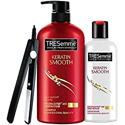 TRESemme Keratin Smooth Shampoo, 580ml with Conditioner, 190ml with Free Hair Straightener
