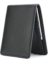 Men's Slim Leather Wallet Small Billfold Front Pocket Wallet With RFID Blocking - Black By WaterFox